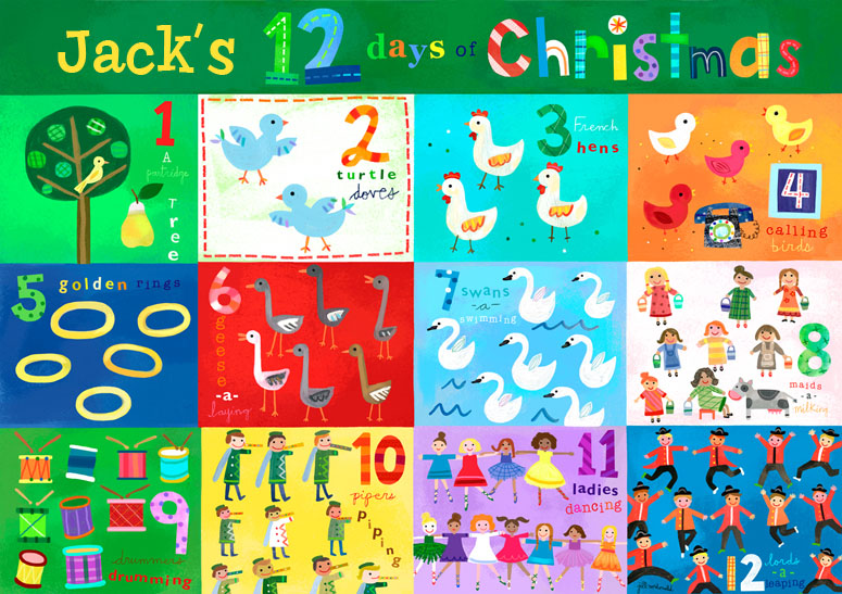 Children's placemat based on a classic Christmas song.