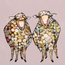 Two fluffy sheep are posing and mingling in this lovable contemporary wall art design by Eli Halpin. The many subtle colors in this piece make it easy to coordinate with your other room decor. Add a little bit of nature's simple beauty and modern style to your home with this wall art.