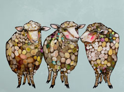 Fluffy sheep are posing and mingling in this lovable contemporary art print design by Eli Halpin. The many subtle colors in this piece make it easy to coordinate with your other room decor. Add a little bit of nature's simple beauty and modern style to your home with this giclee art print.