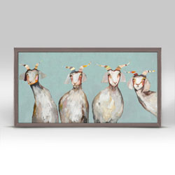 Say hello to four friendly goats in this mini canvas art with a soft blue background.