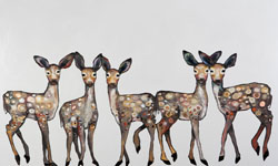 Five fawns dance off this wall art, courtesy of acclaimed artist Eli Halpin's brushwork. Living in harmony with our animal friends never looked so good, and Ms. Halpin's work reminds us of the bonds between all of us.