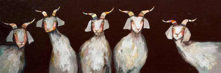 Say hello to five friendly goats in this canvas wall art with a rich chocolate background.