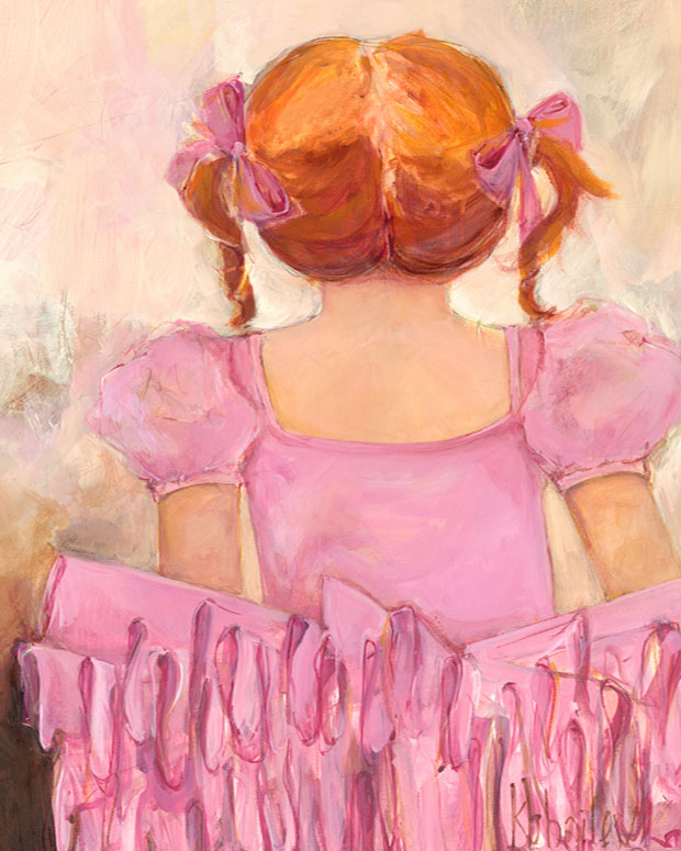 Angelic Ballerina - Red Hair Wall Art by Kristina Bass Bailey