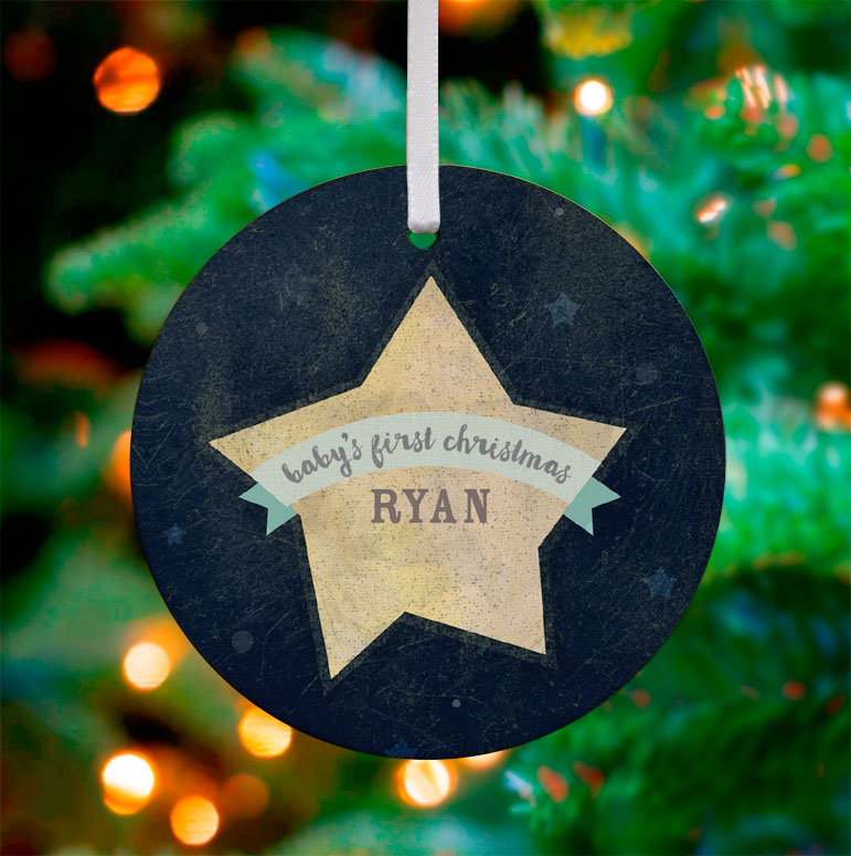 Baby's Christmas - Blue Ornaments By Yellow Button Studio