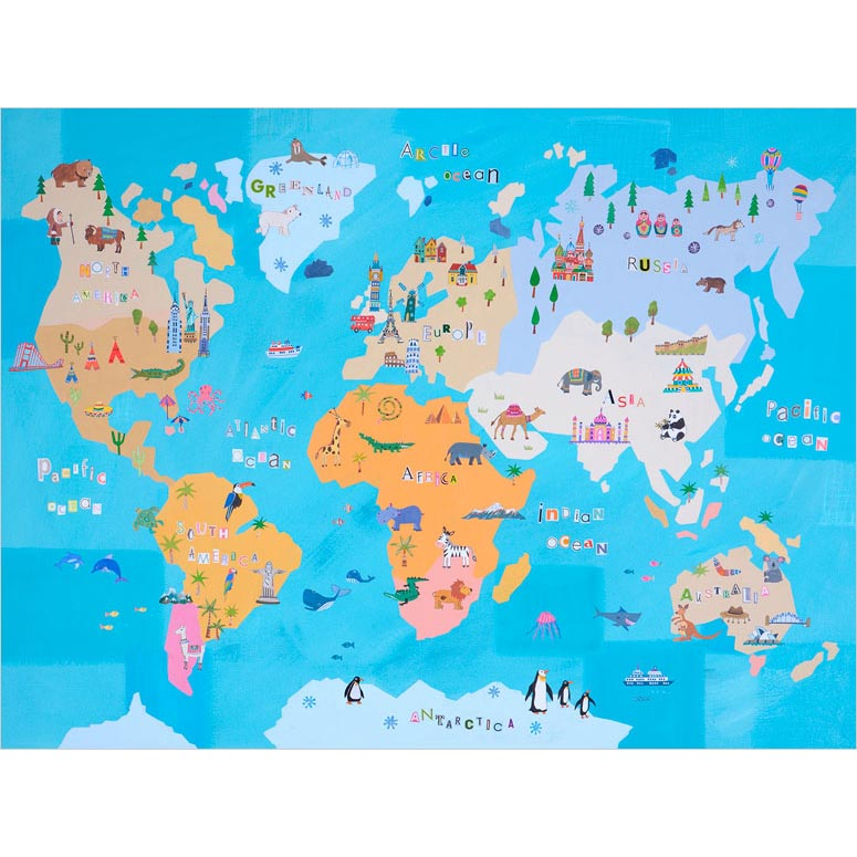 Cute World Map Poster Decals by Pope Twins