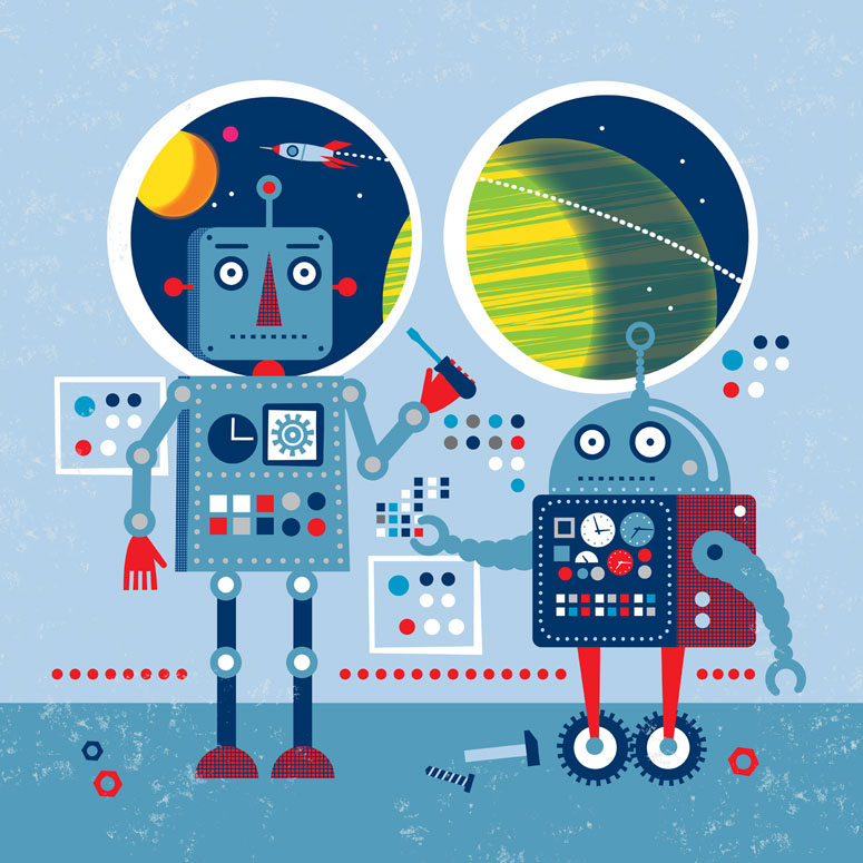 Infinity Robots - Blue Robots Wall Art by Edward Miller