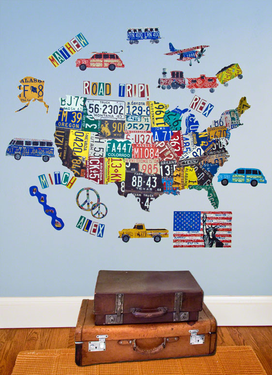 License Plate USA Map Wall Decal Cut-Outs by Aaron Foster