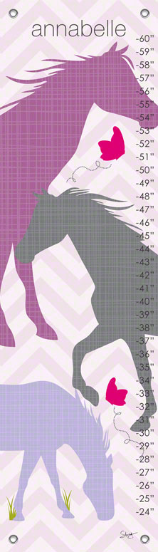 Oopsy daisy Modern Horses - Purple Growth Charts by Stacy Amoo-Mensah 12x42 in