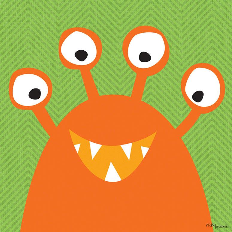 Monster Mugs - Orange Wall Art by Vicky Barone