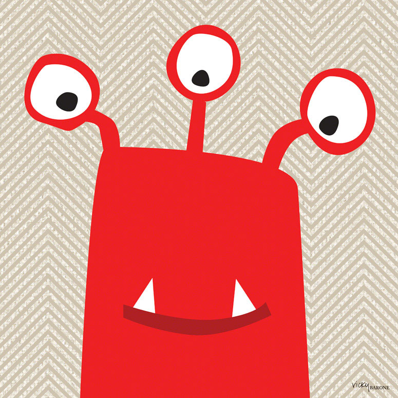 Monster Mugs - Red Wall Art by Vicky Barone