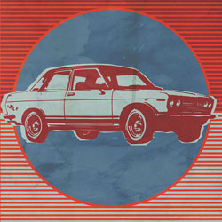 Retro Ride - Red Car Wall Art By Paste Face