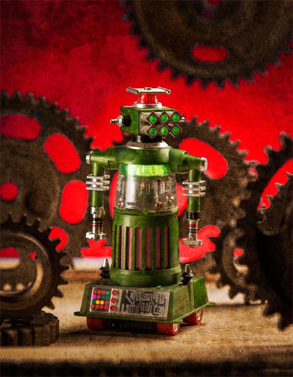 Robot & Gears - Red Wall Art by Gary Logan