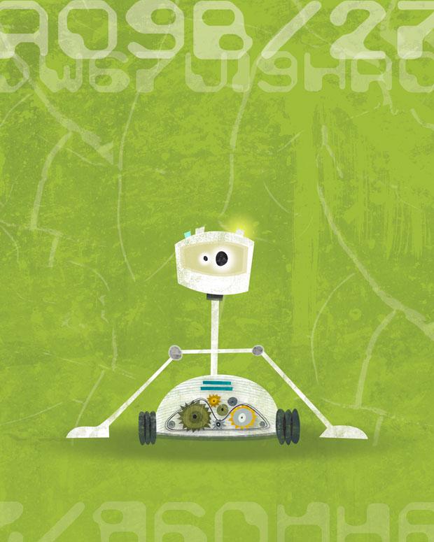 Rumbling Robots - Reggie Wall Art by Heather B. Warriner