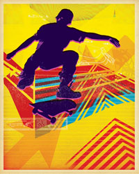 Skate Heist Neon Deux Poster Decals by Paste Face