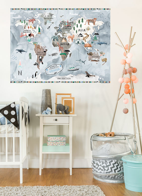 Watercolor Map - Pastel Mural Decals by Katie Vernon