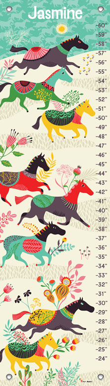 Oopsy daisy Wild Horses Growth Charts by Helen Dardik 12x42 in