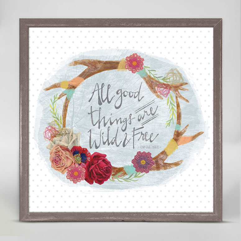 Wild And Free Antlers Mini Framed Canvas By Yellow Button Studio