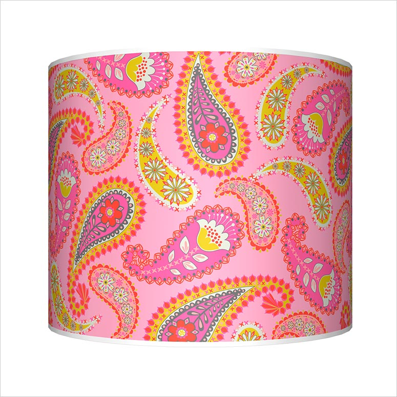Yellow, Pink and Red Paisley Lamp by Mary Beth Freet