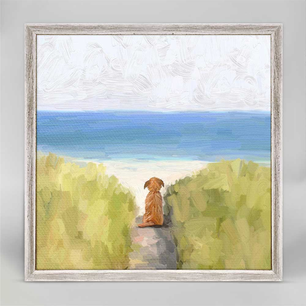 A Quiet Day At The Beach Mini Framed Canvas by Cathy Walters