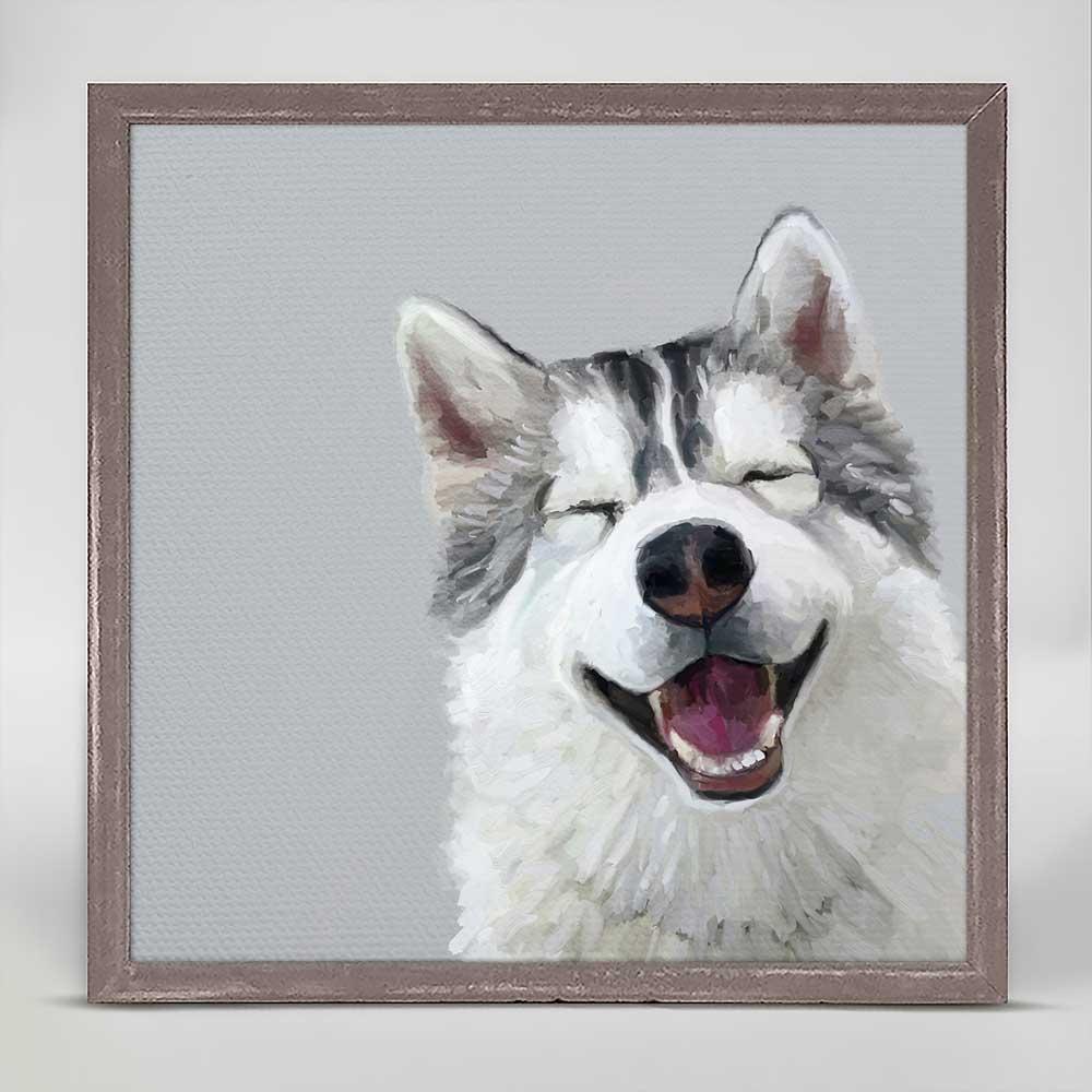 Best Friend - Happy Husky Mini Framed Canvas by Cathy Walters