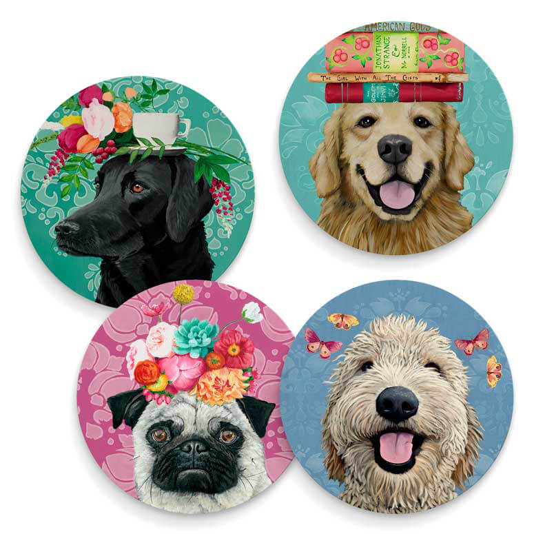 Happy Dogs - Set of 4 Coasters by Heather Gauthier Art